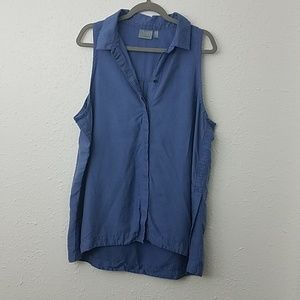 Athleta XL blue button front vest split hem
